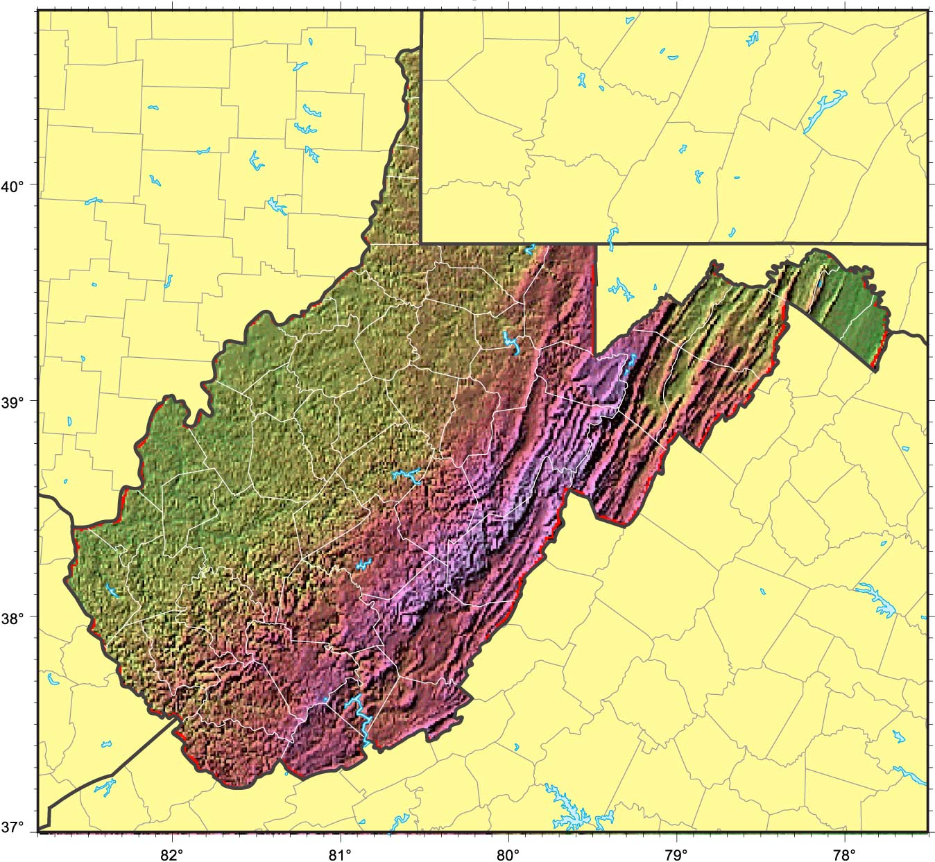 Relief Map Of Virginia.West Virginia Relief Map Mapsof Net