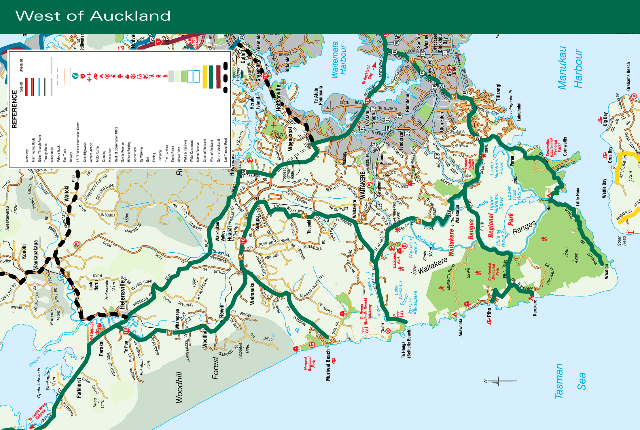 West of Auckland Map  Mapsofnet