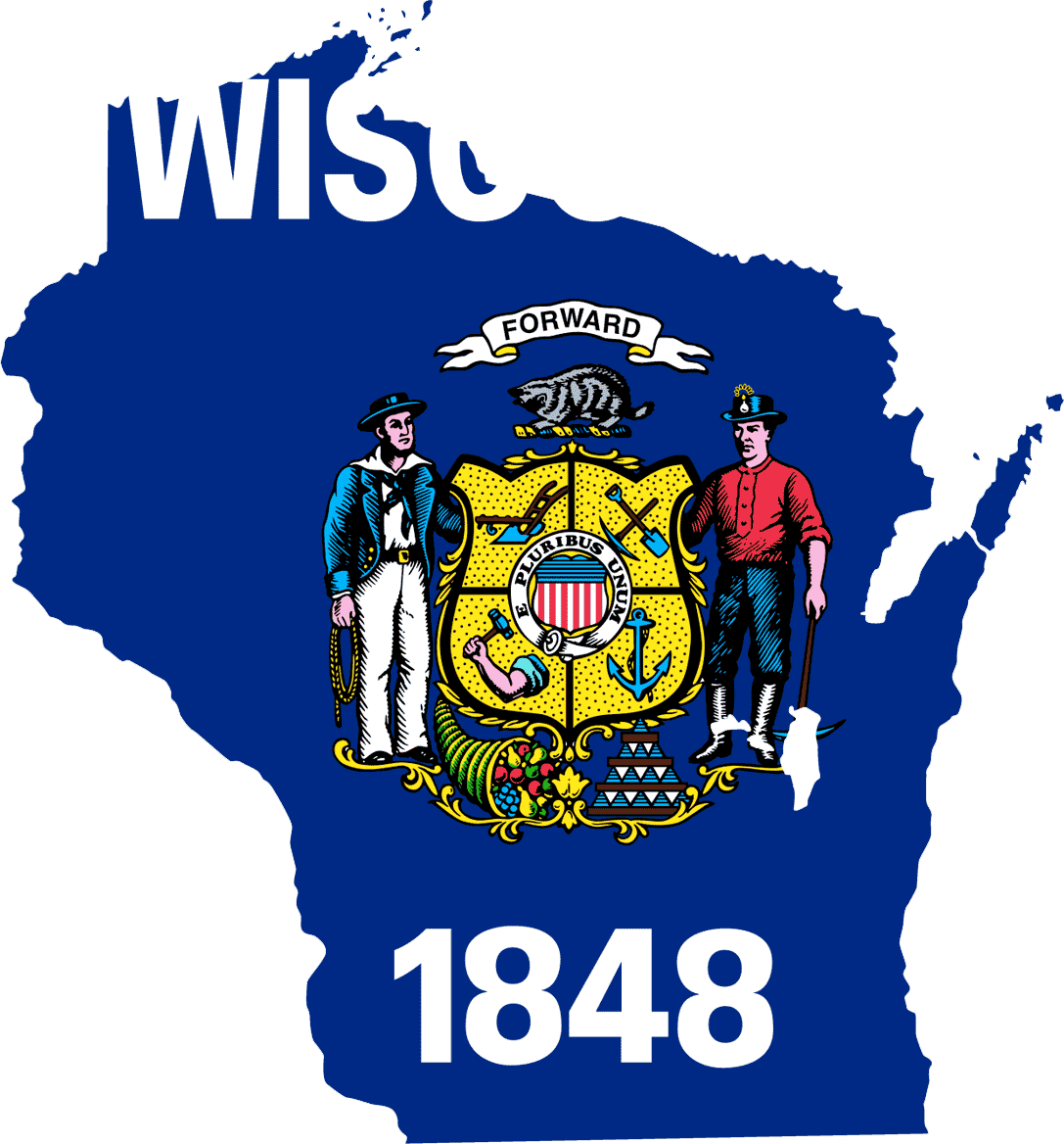 Wisconsin Flag Map large map