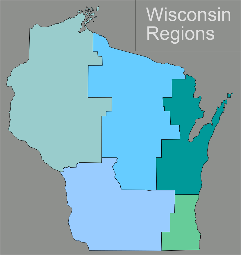 Wisconsin Regions Map large map