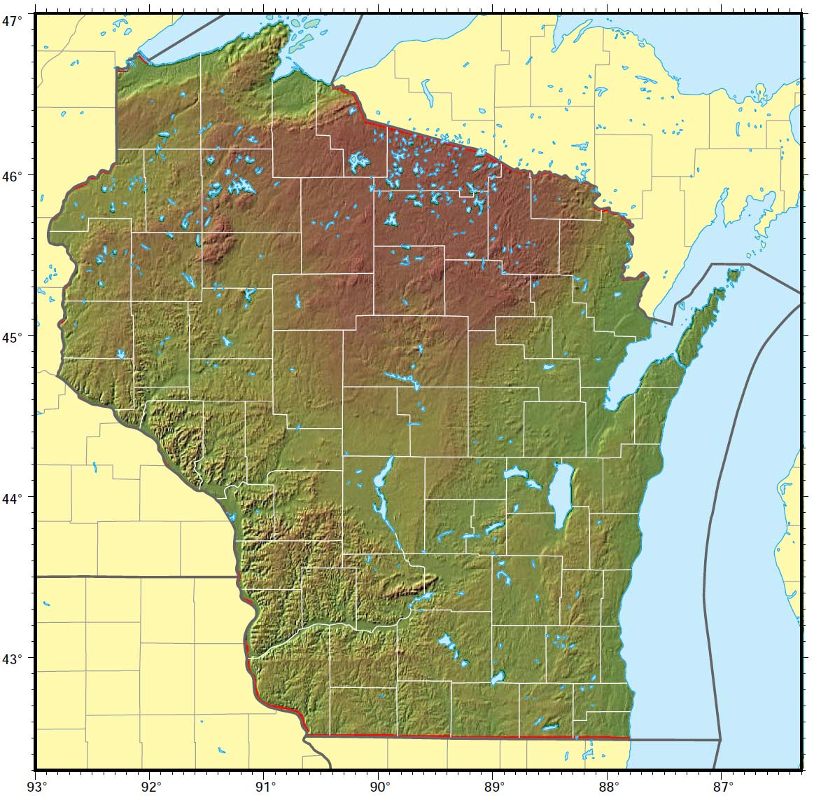 Wisconsin Relief Map large map