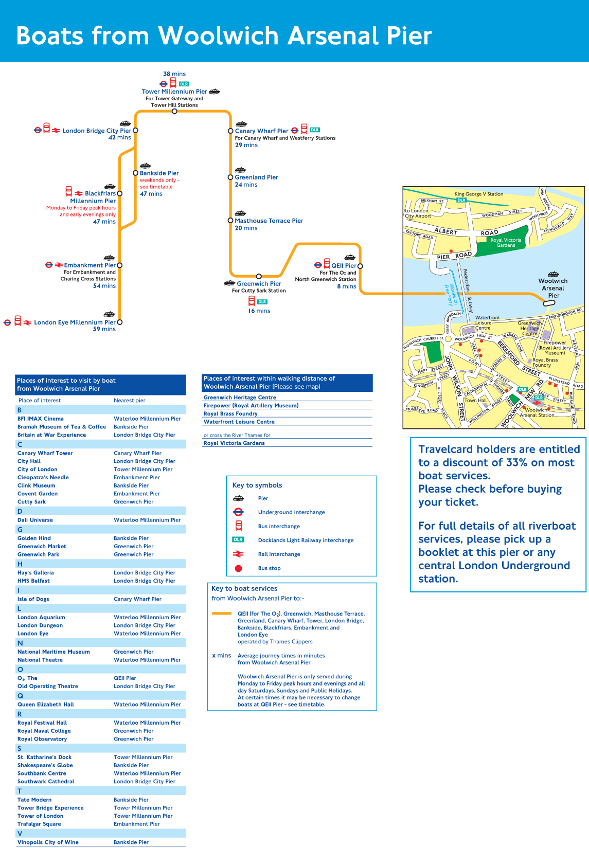 Woolwich Arsenal Pier Route Map large map