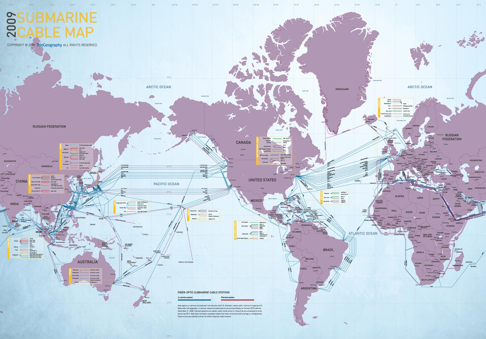 World Submarine Cable Map large map