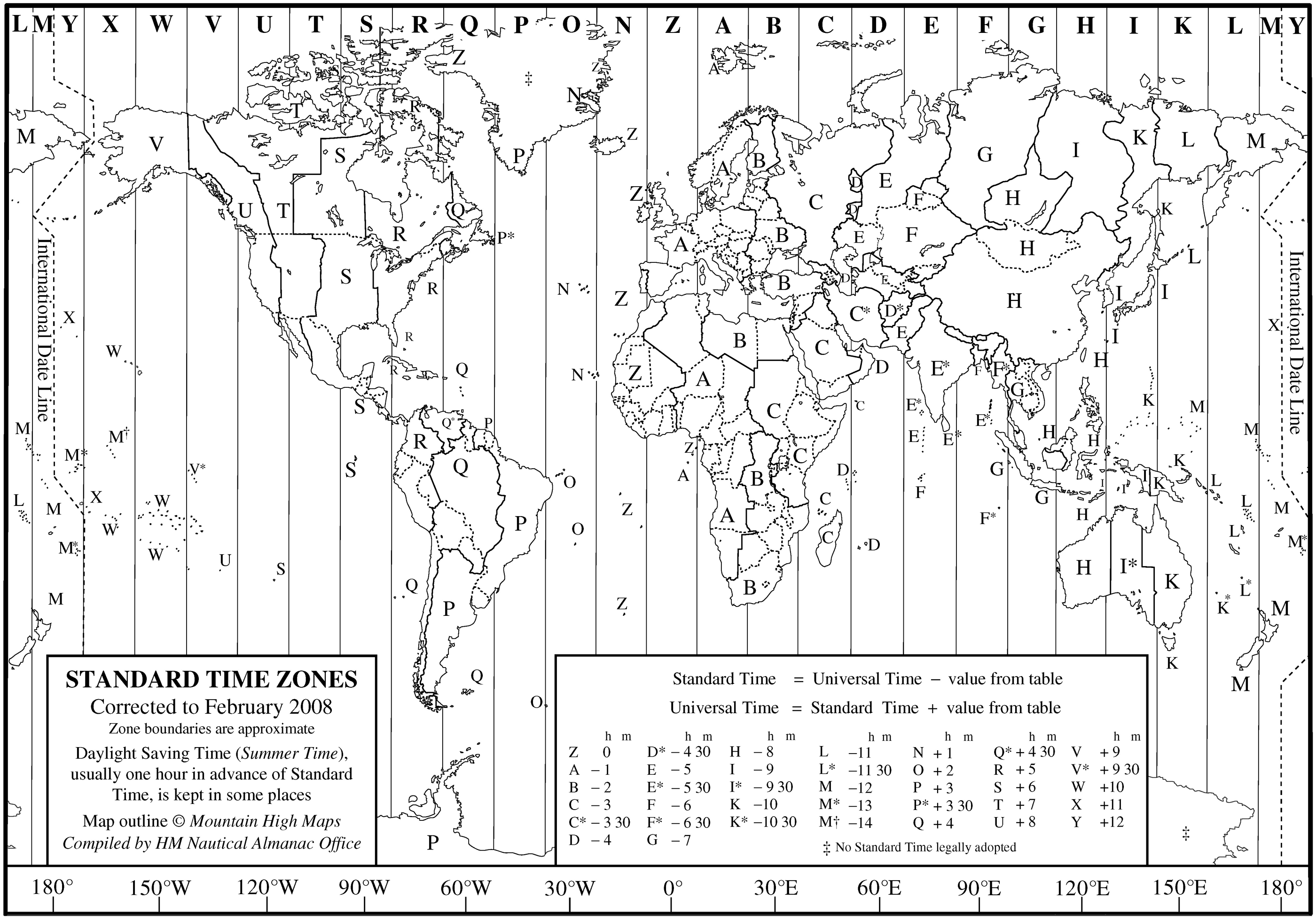 World Time Zone Map large map