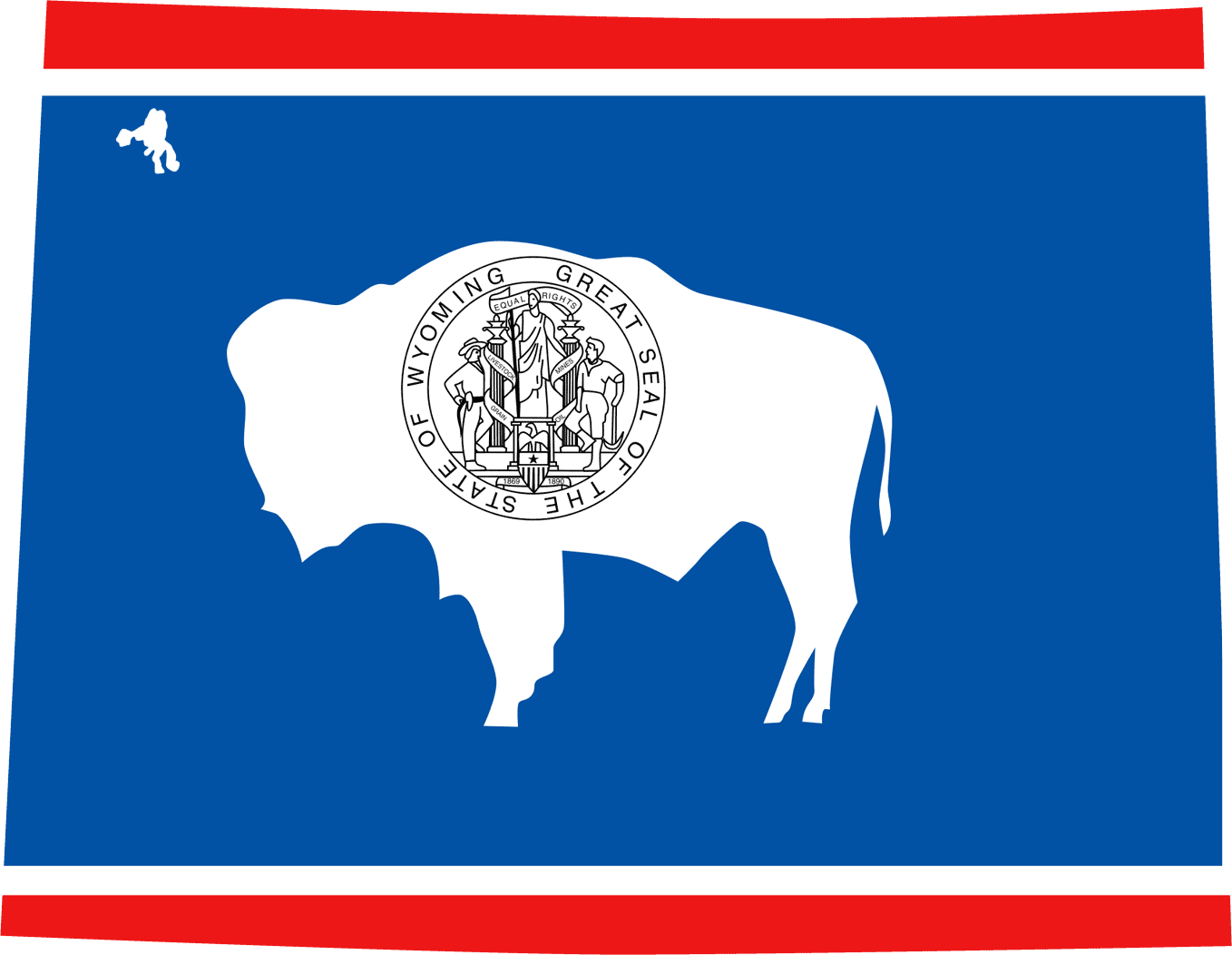Wyoming Flag Map large map