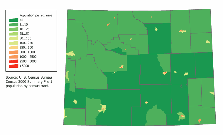 wyoming population map united states maps