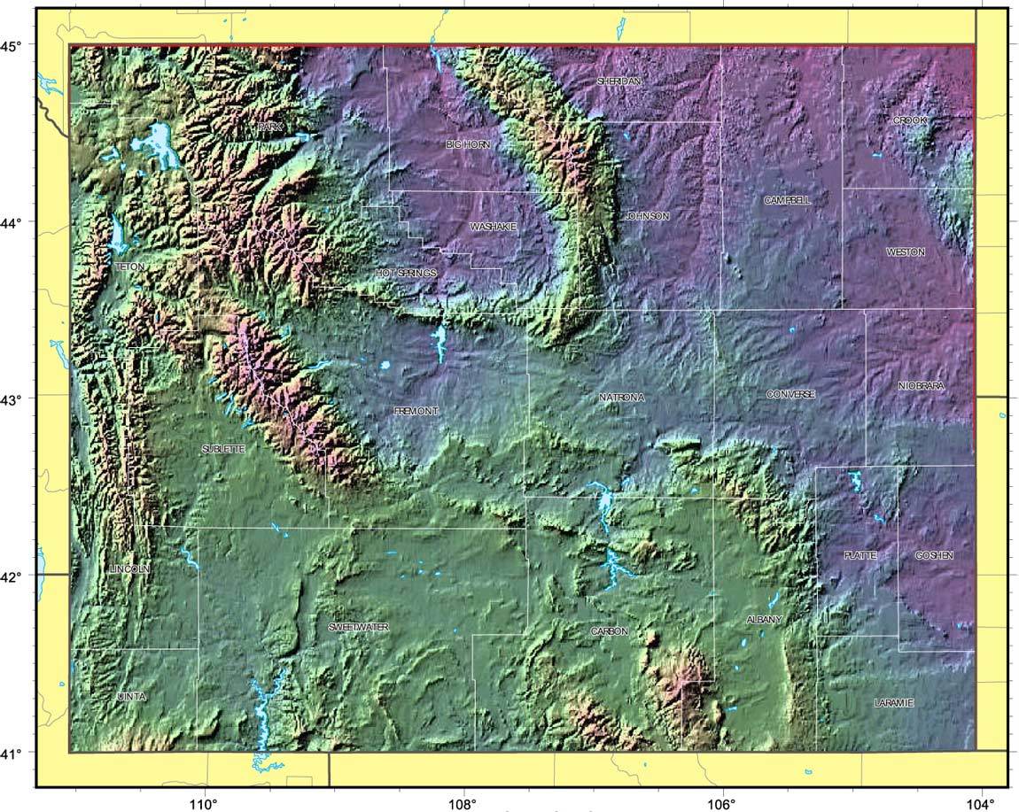 Wyoming Relief Map large map