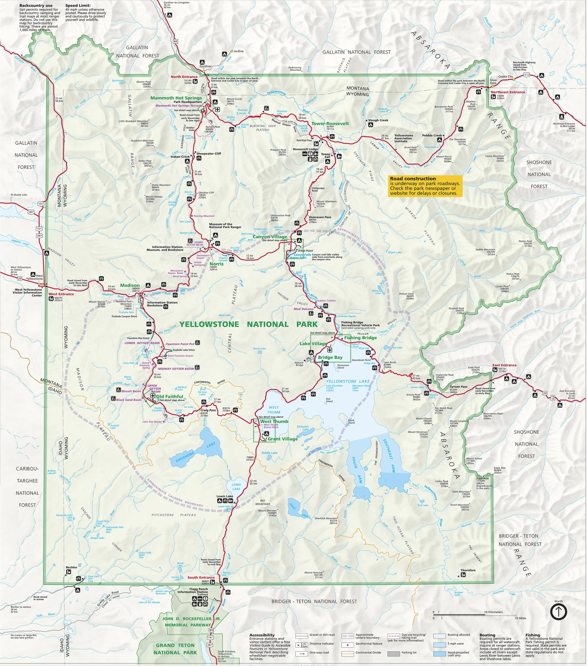 Yellowstone National Park Map large map