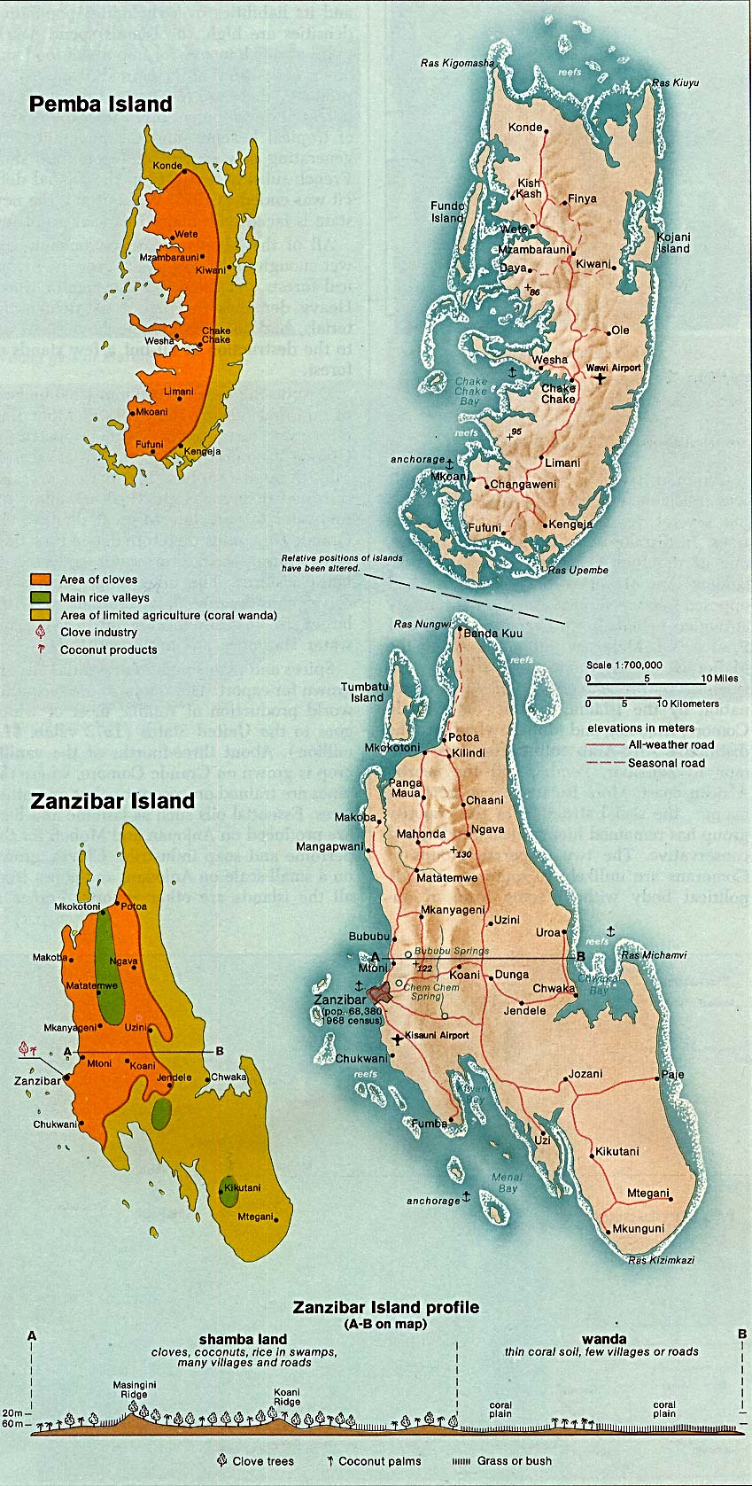 Zanzibar And Pemba Islands large map