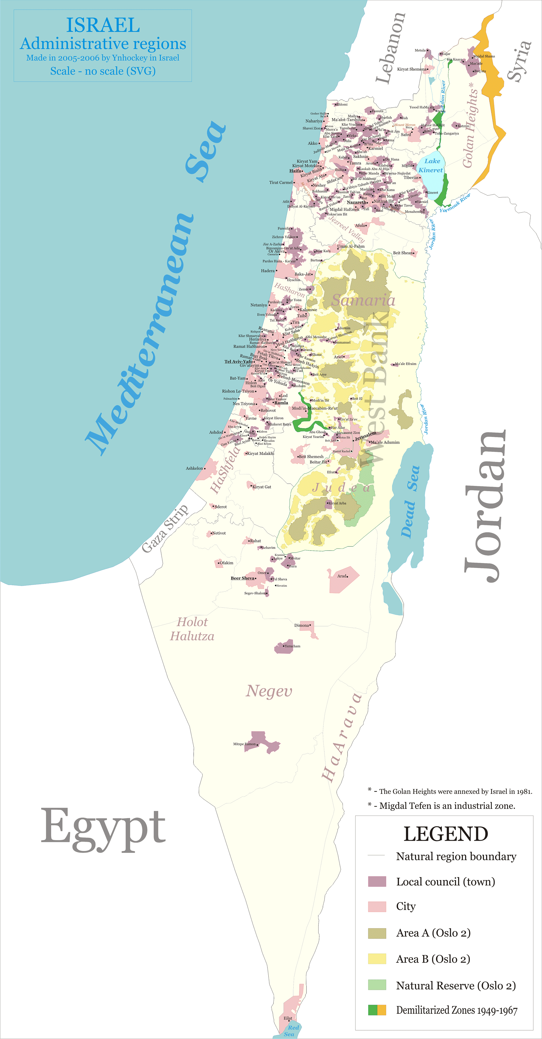 Administrative Regions In Israel Mapsofnet