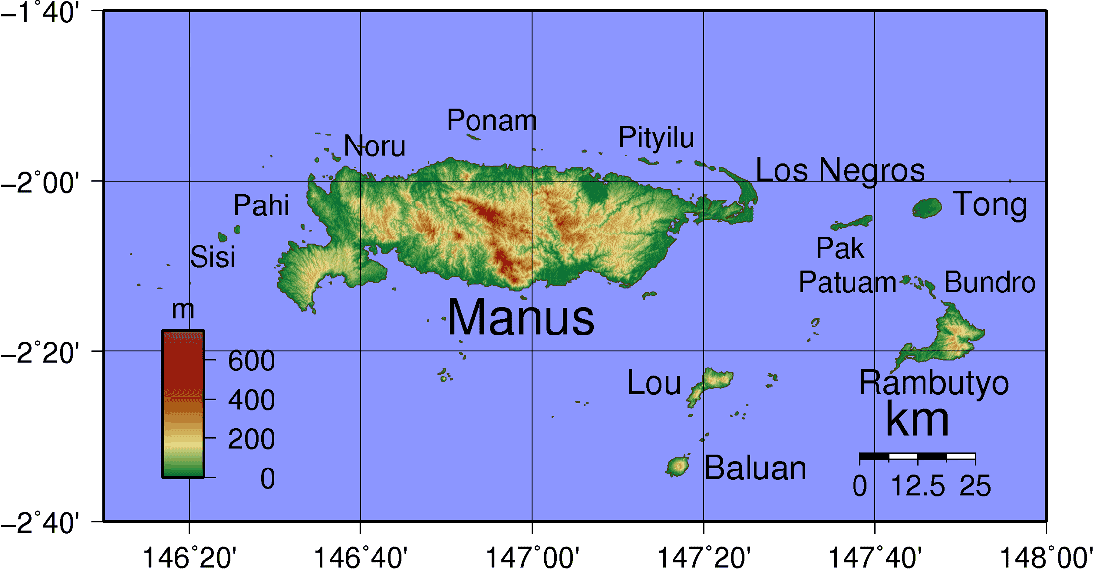 Admiralty Islands Topography With Labels large map