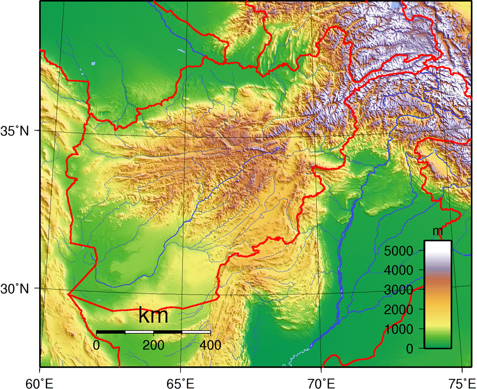 Afghanistan Topography large map