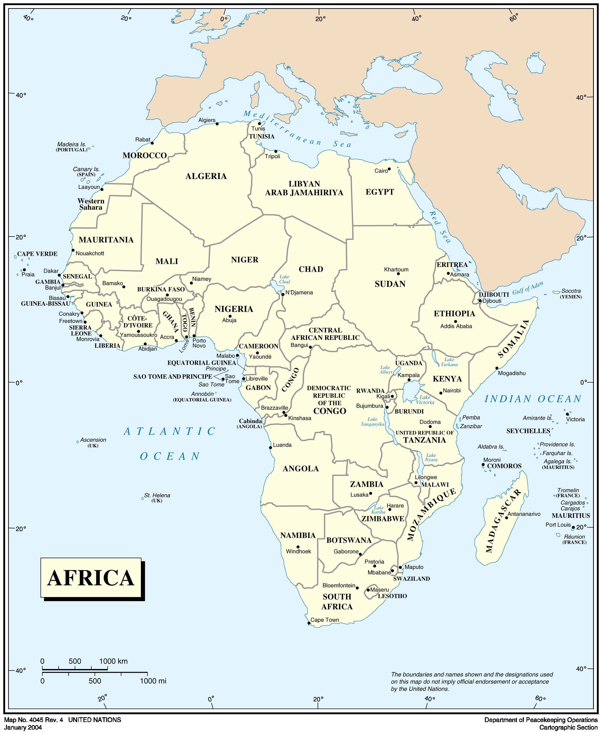 Africa Countries Map 2012 large map