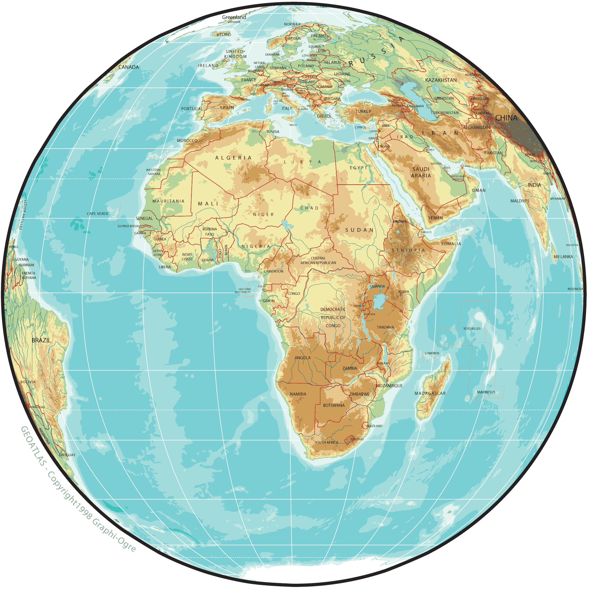 Africa Physical Map Globe large map