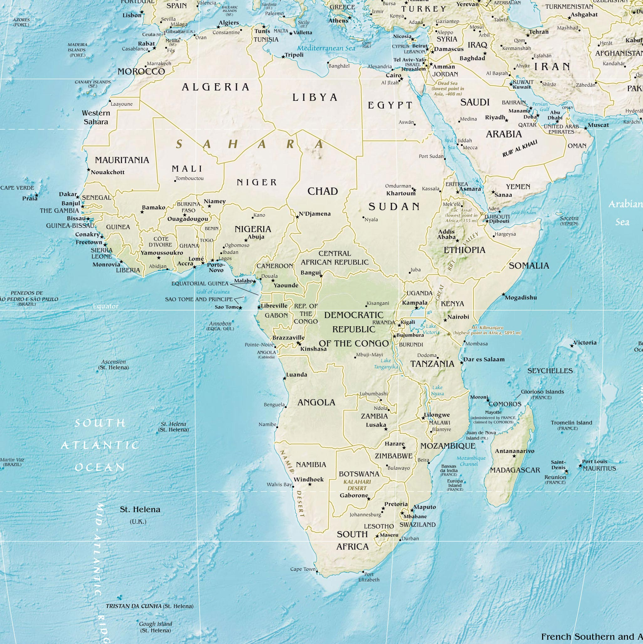 Africa Countries Physical Map large map