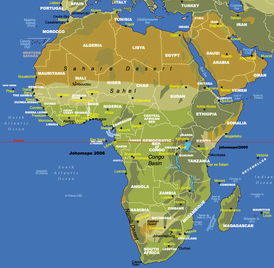 africa map with equator line