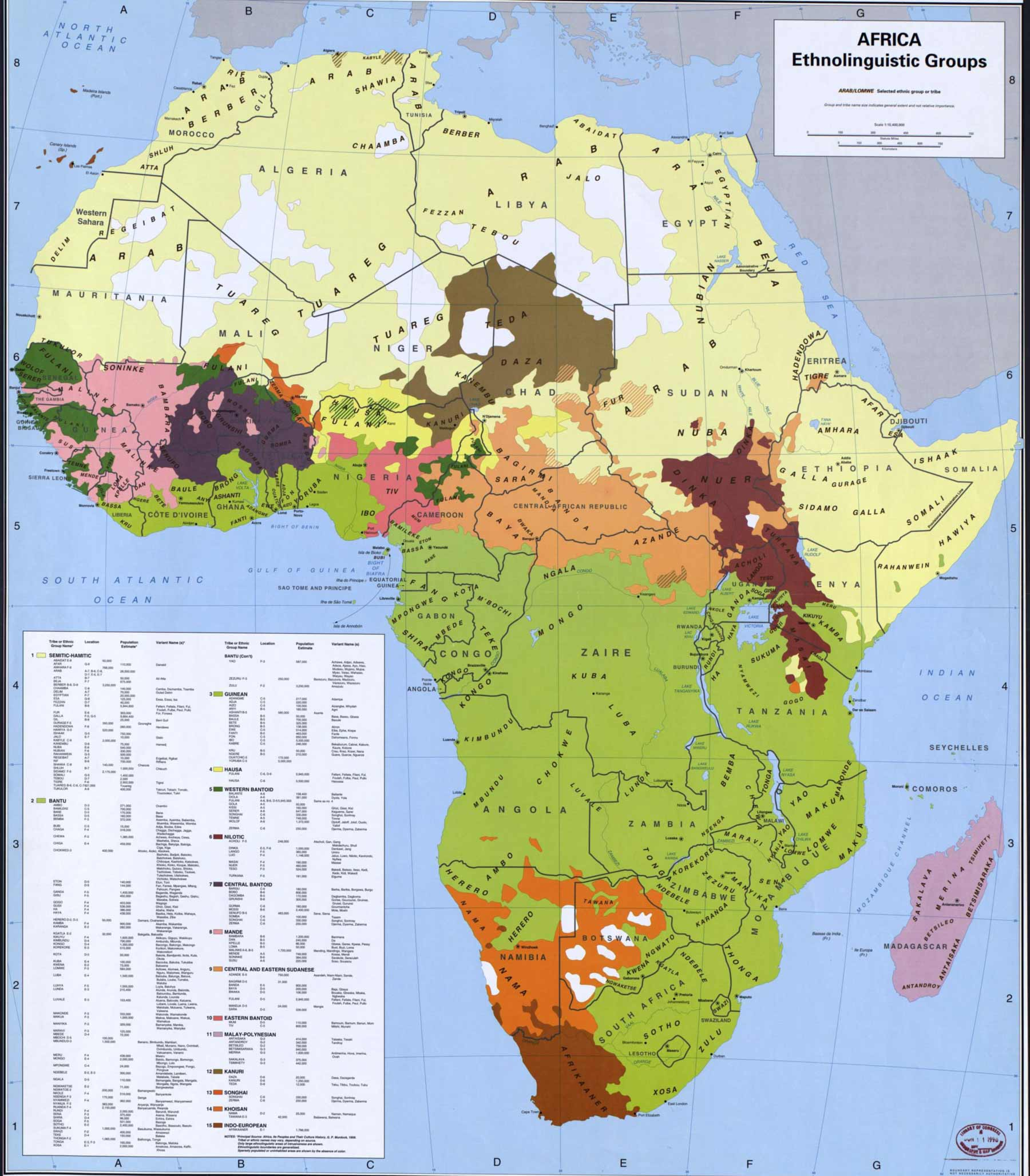 Africa Ethnic Groups 1996 large map