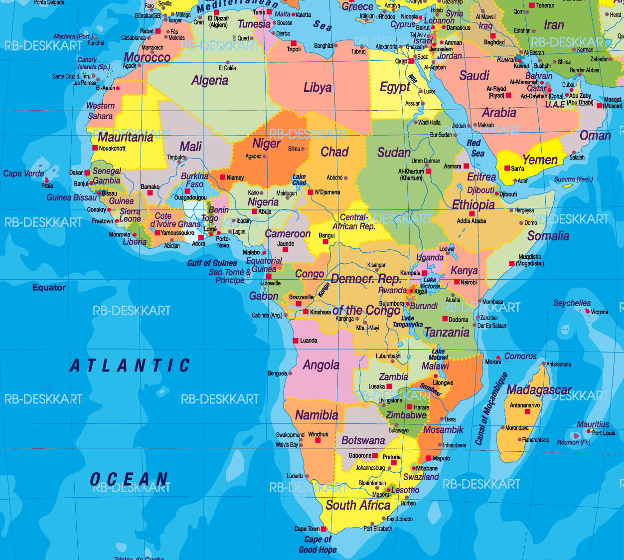 Africa Political Map 1 Mapsofnet