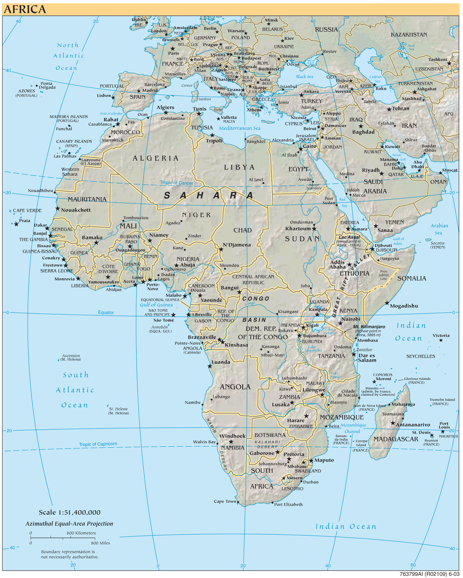 Africa Refeference Map large map