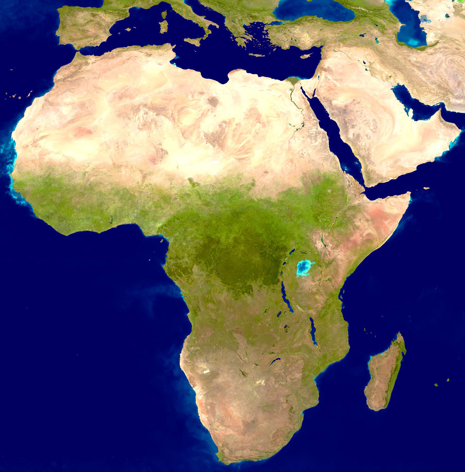 Africa Satellite Image large map