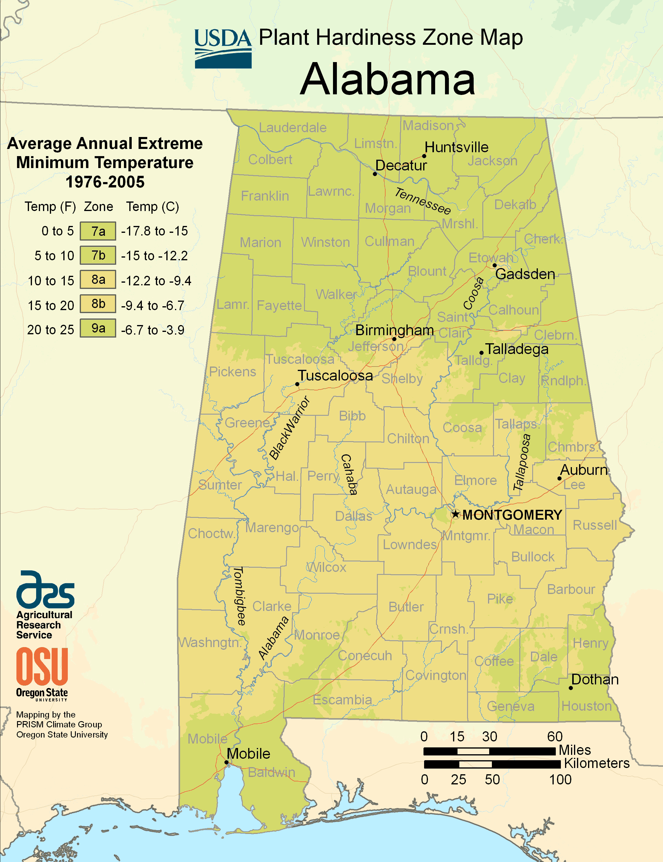 Alabama Plant Hardiness Zone Map Mapsofnet - Maps of alabama