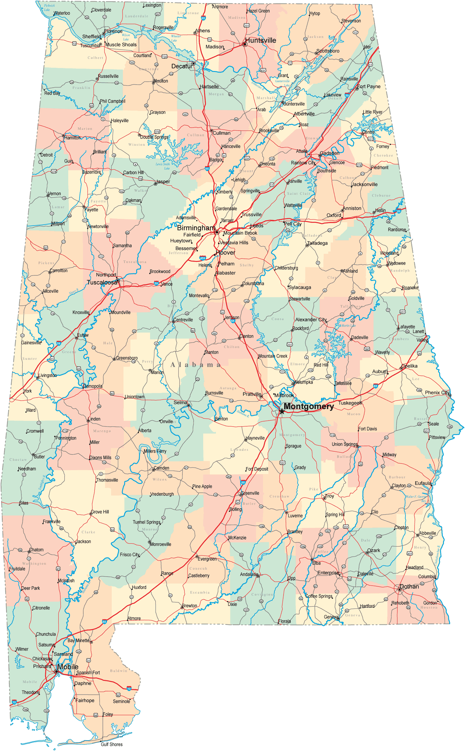 Alabama Road Map Mapsofnet - Map of alabama with cities and towns