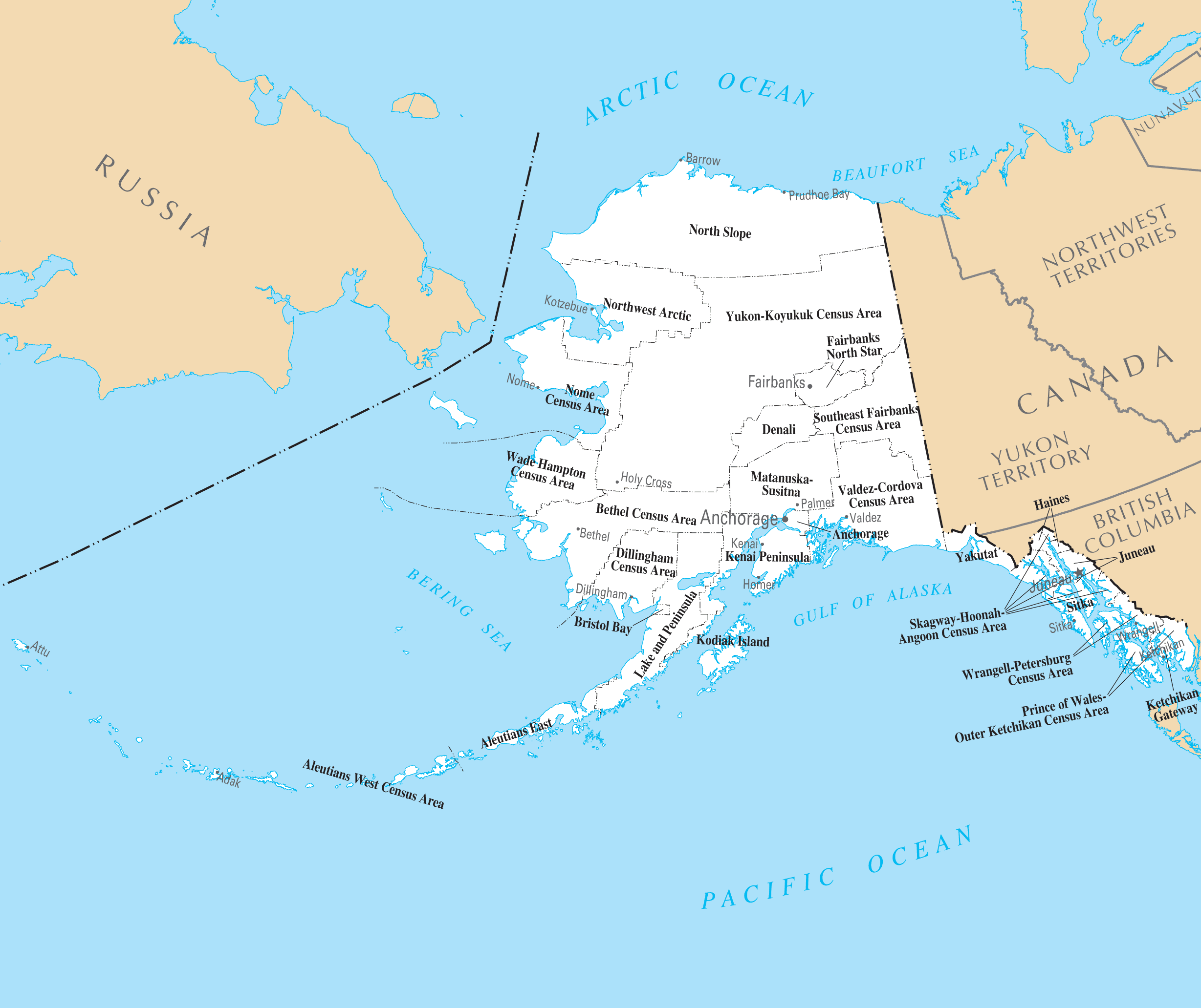 Alaska Counties And Cities Mapsofnet - Alaska county map