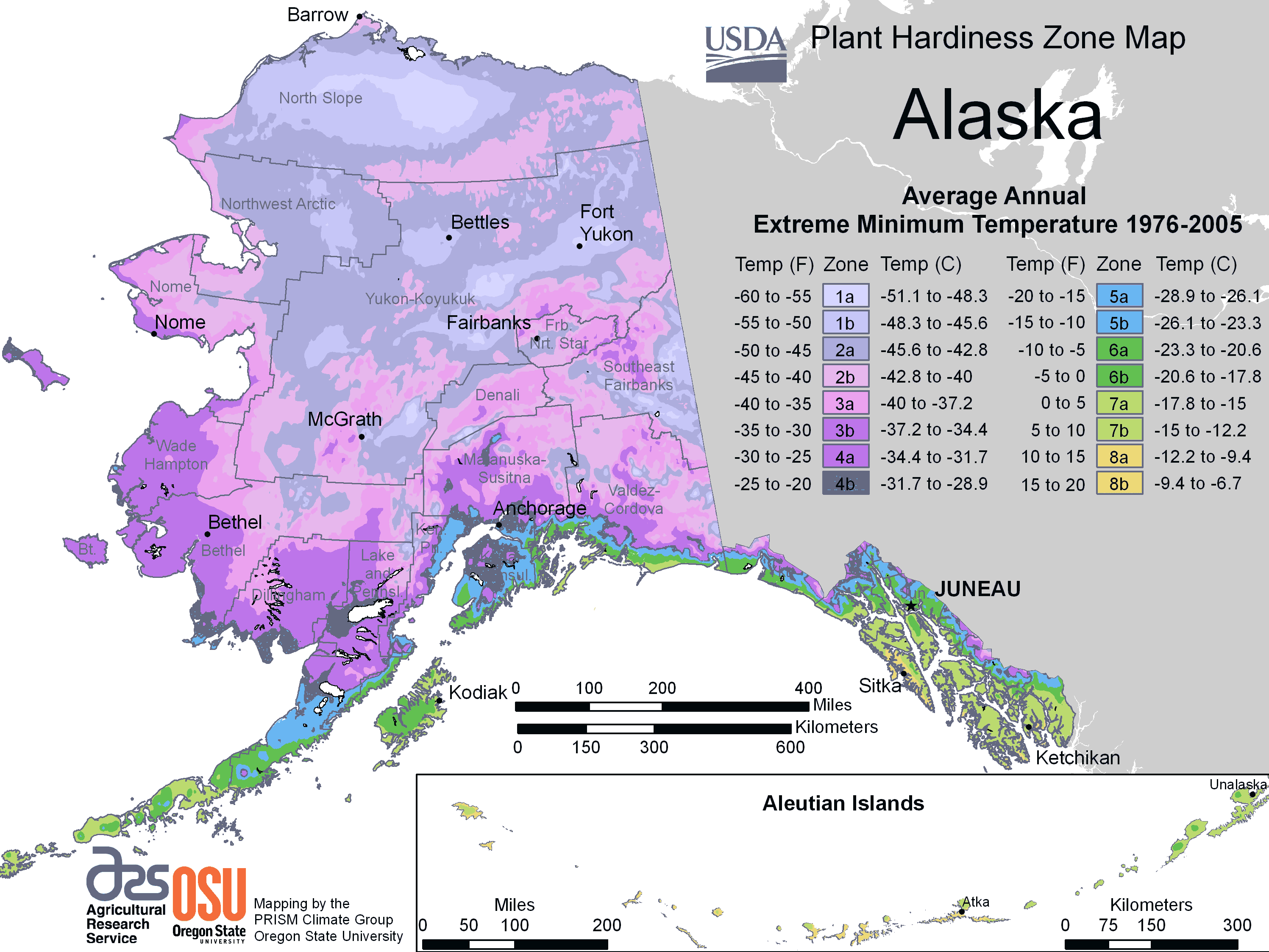 Alaska Plant Hardiness Zone Map large map