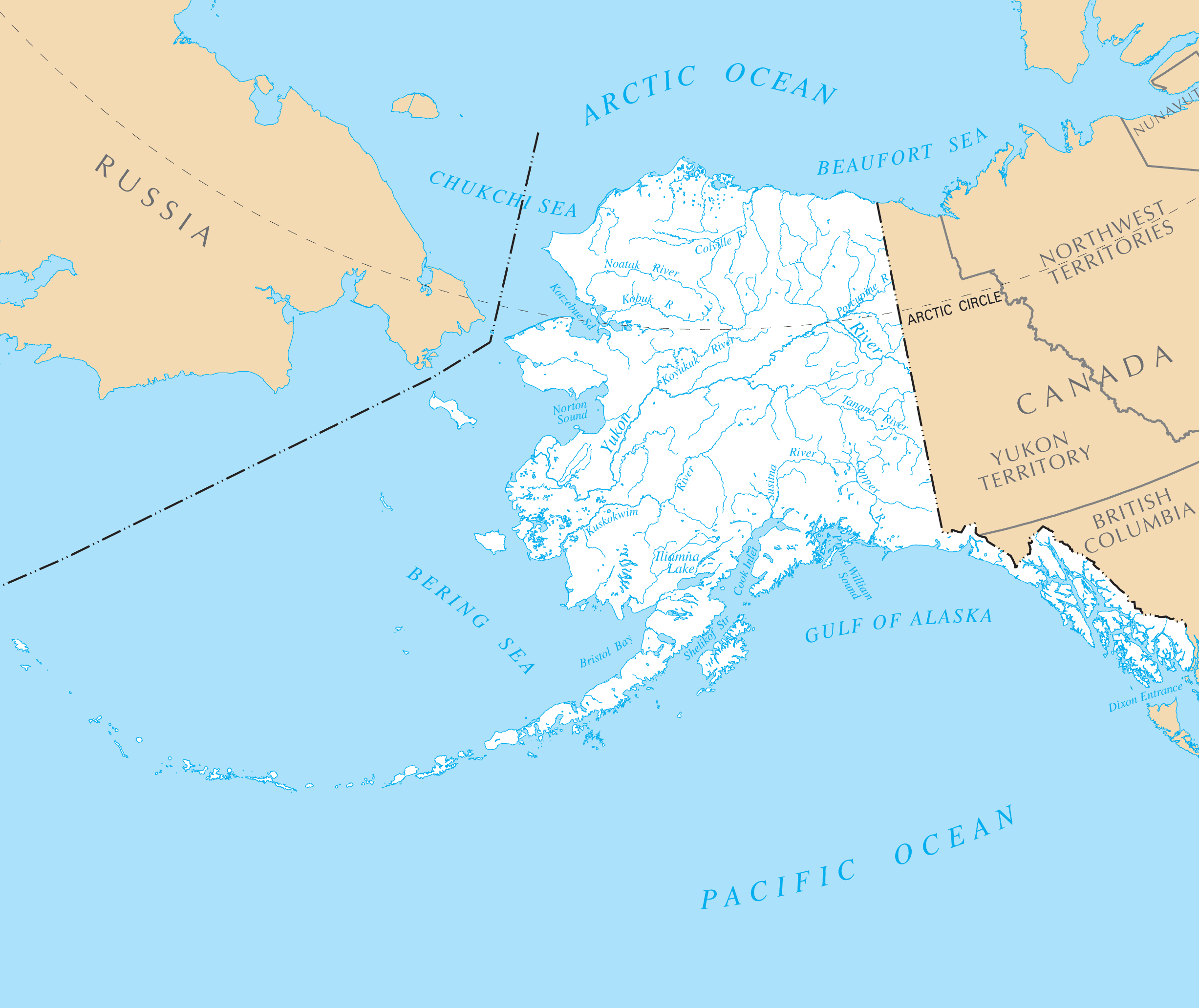 Alaska Rivers And Lakes large map