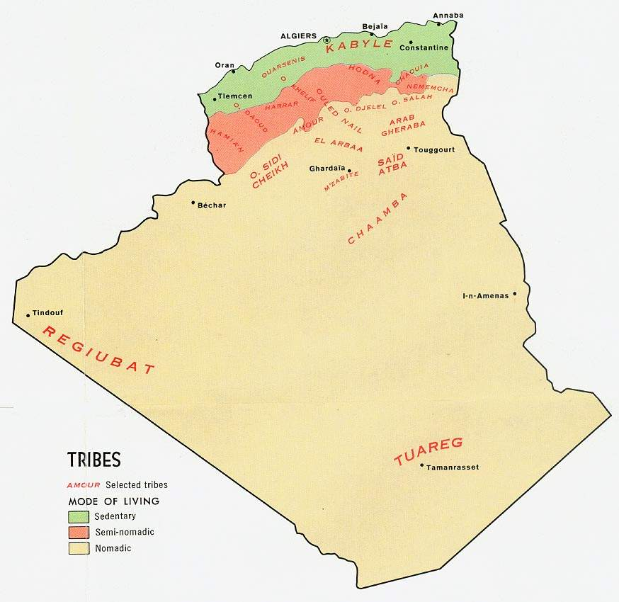 Algeria Tribes large map