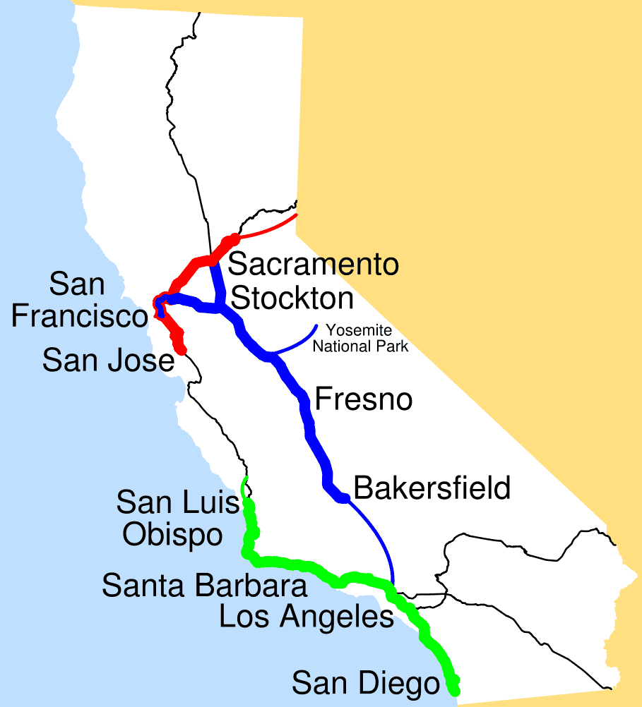 Amtrak Los Angeles Map.Amtrak California Simplified Map Mapsof Net