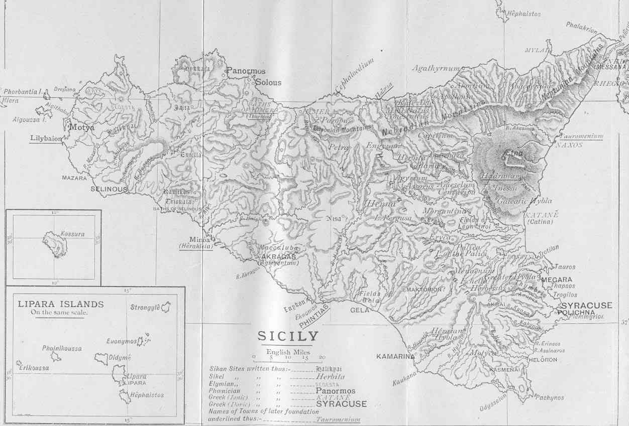 Ancient Map of Sicily large map
