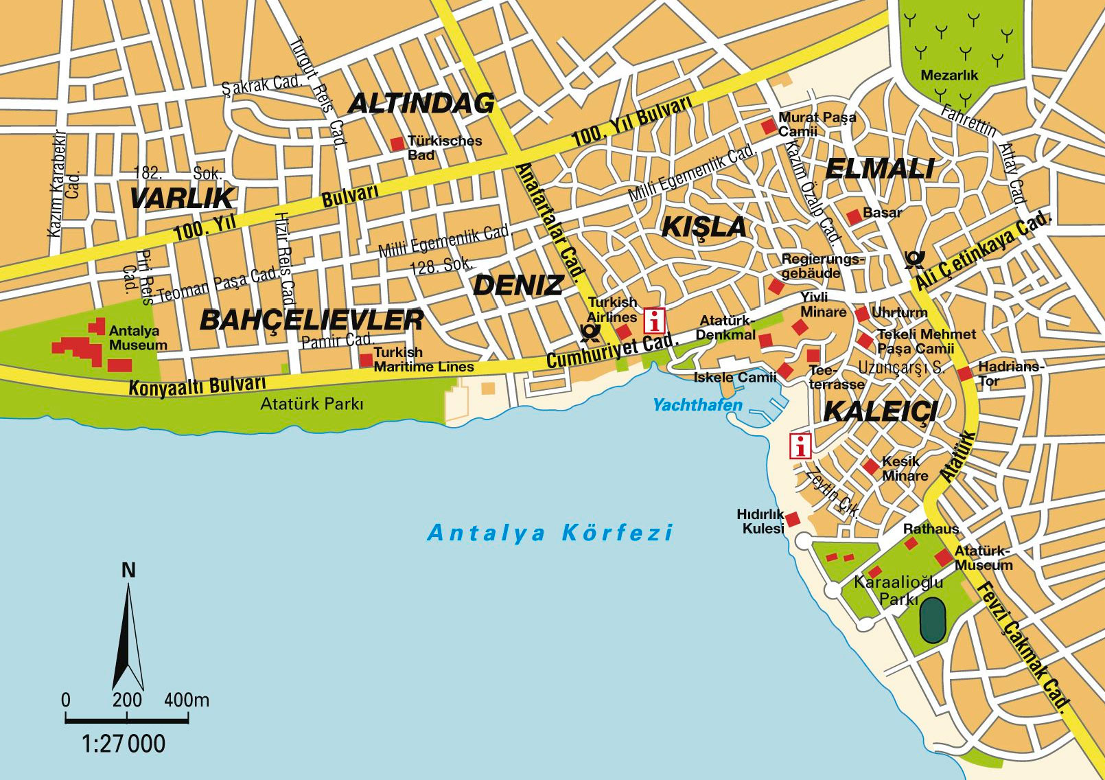 Antalya City Center Map Mapsof Net