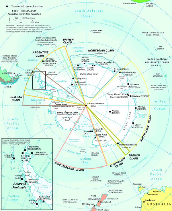 Antarctic Map large map