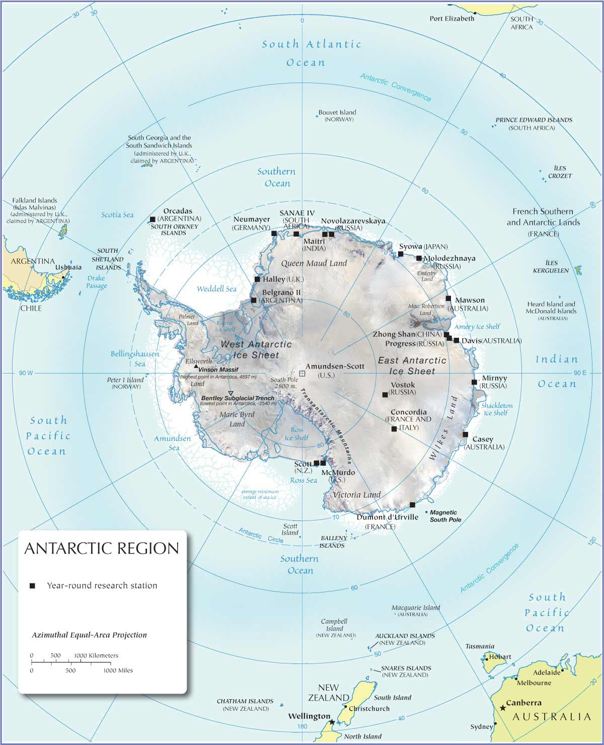 Antarctica Map large map