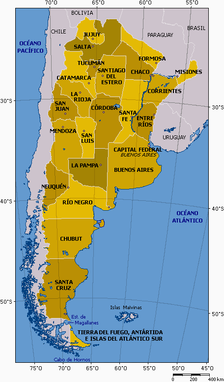 Argentina Map Provinces With Names Mapsofnet - Argentina map provinces