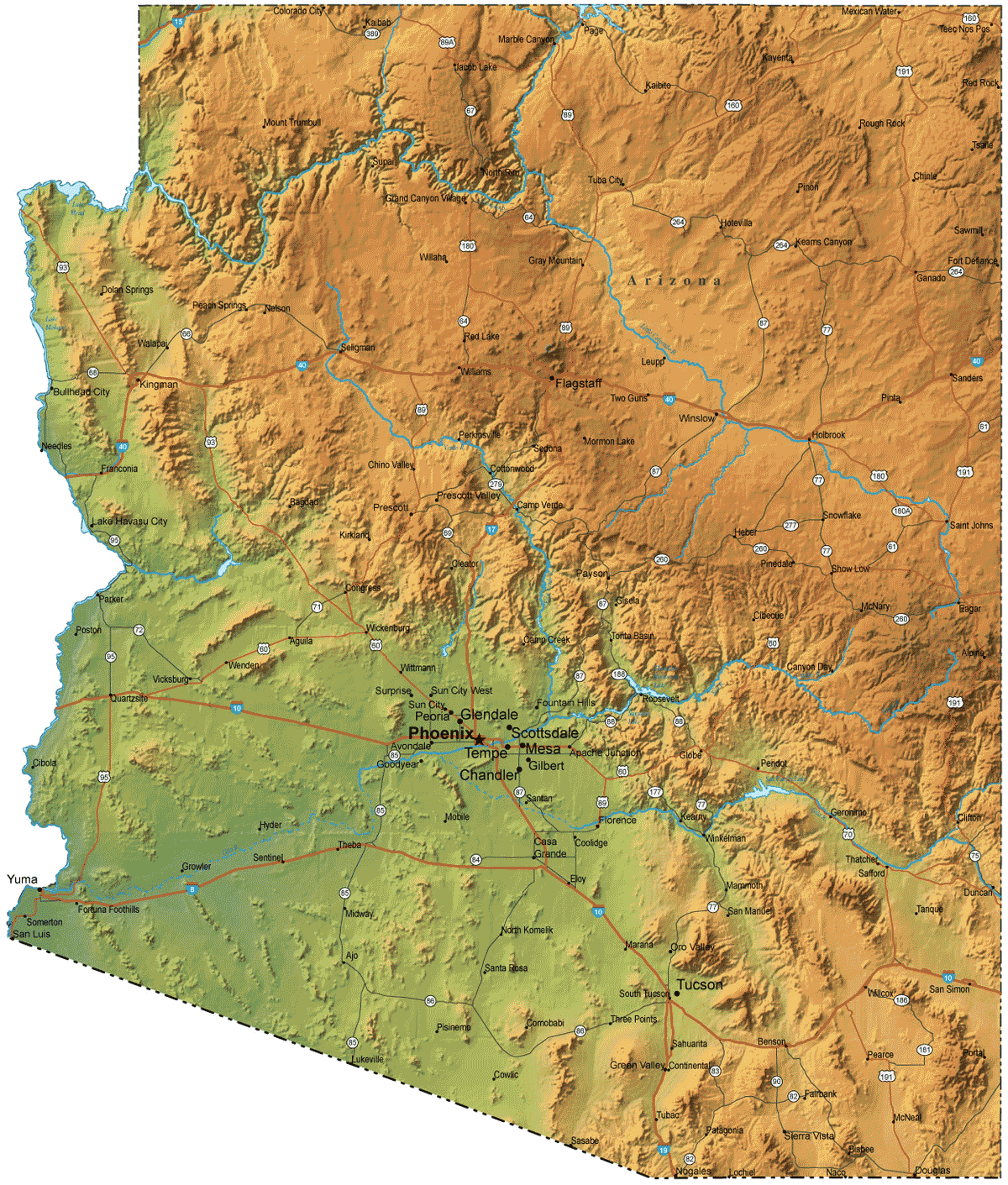Arizona Physical Map large map