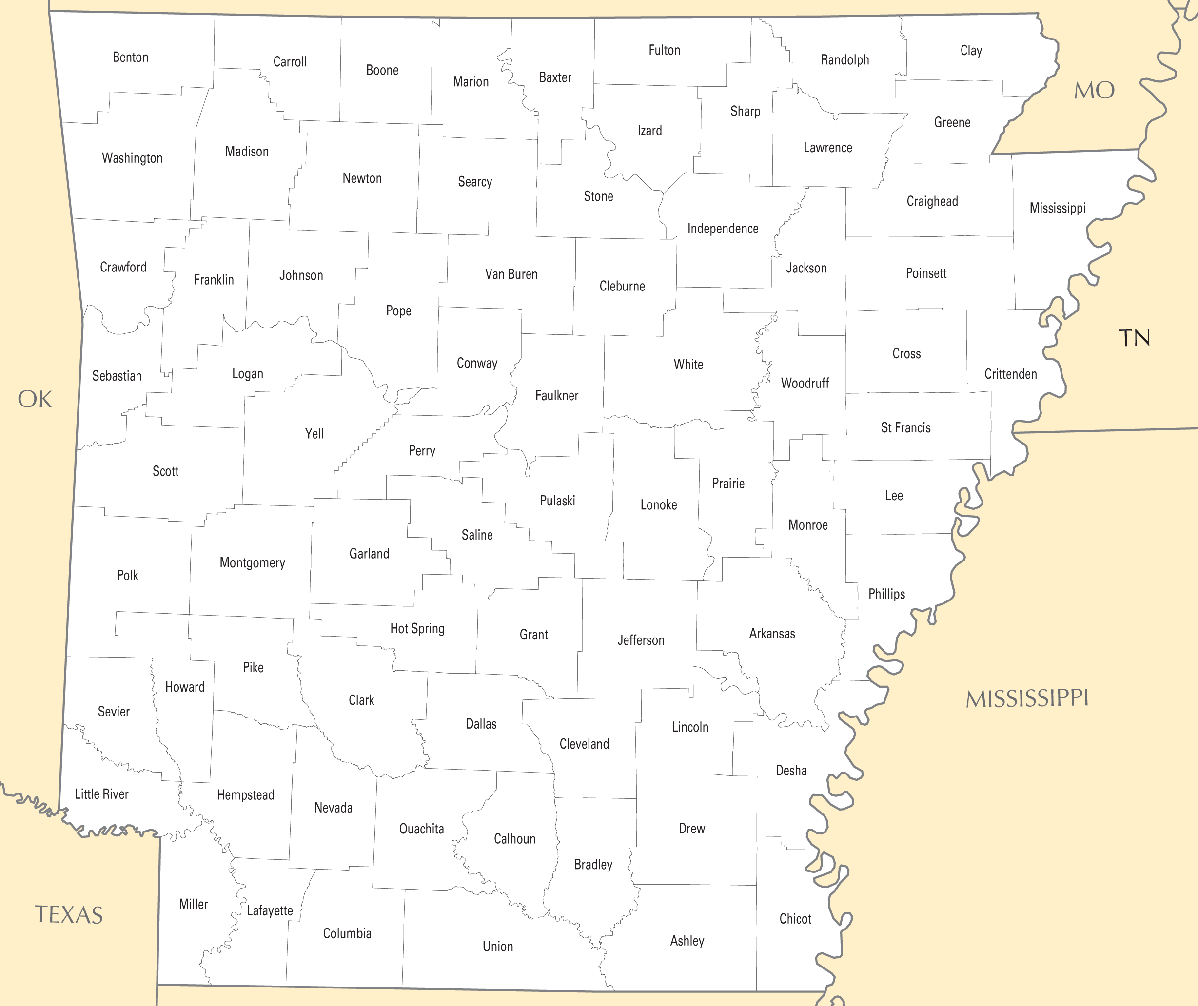 Arkansas County Map Mapsof Net
