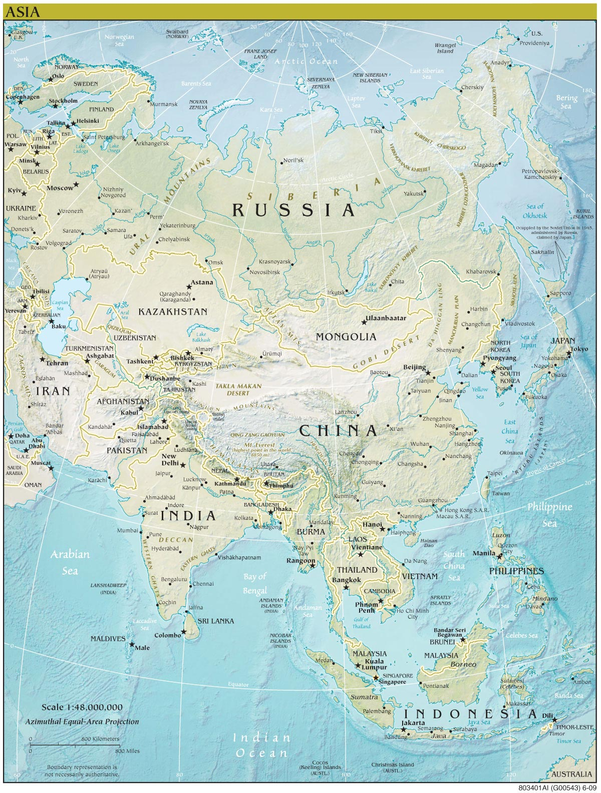 Large Map Of Asia.Asia Continent Physical Map Mapsof Net