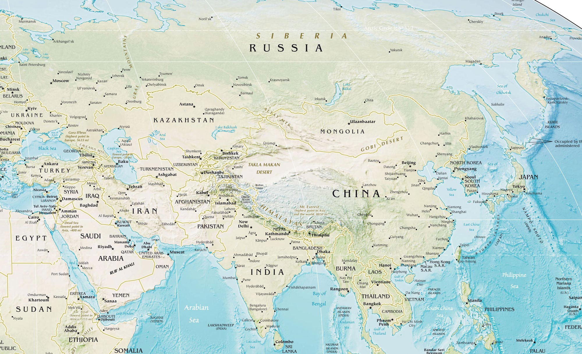 Asia Physical Map Mapsofnet