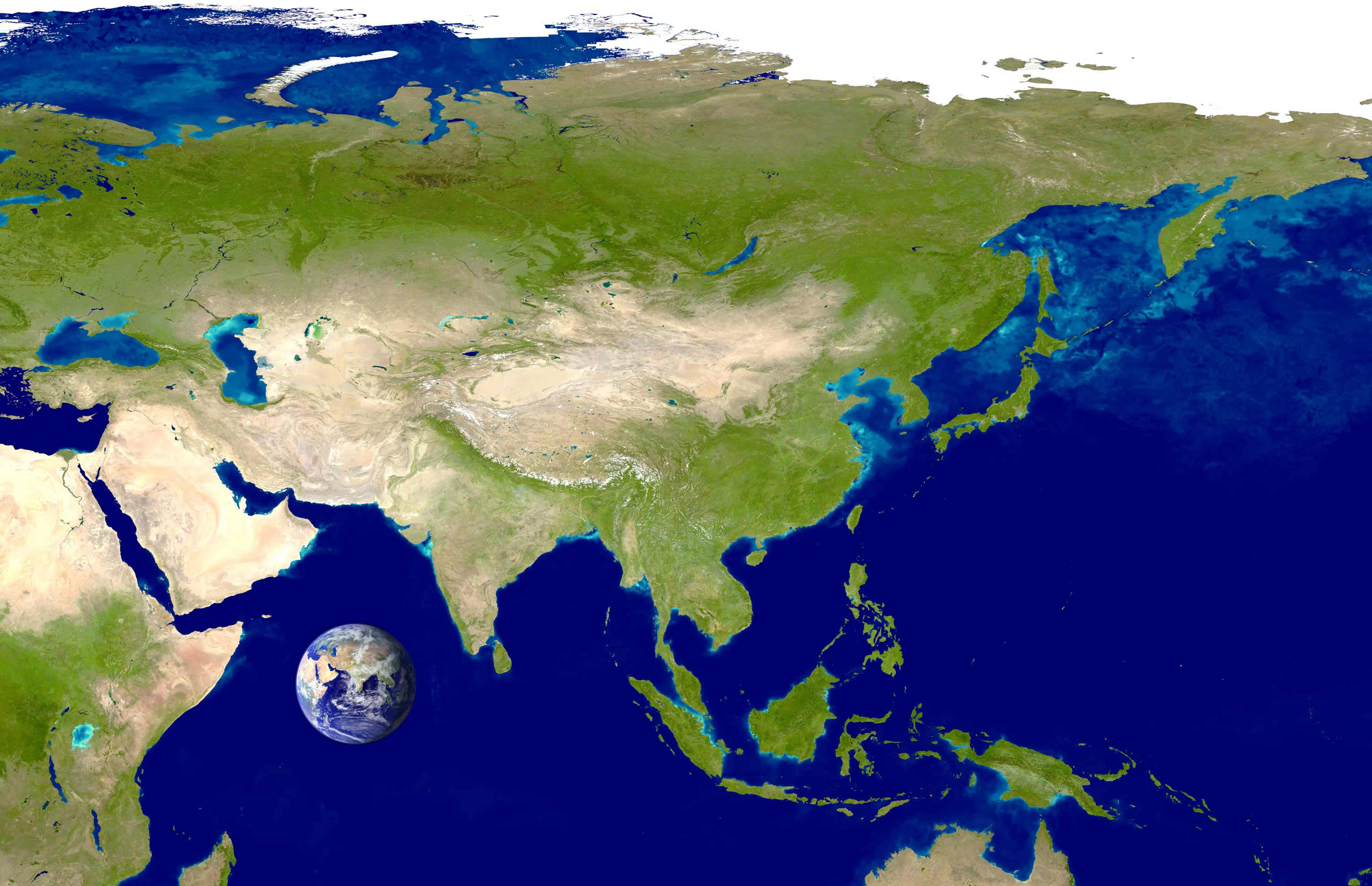 Asia Satellite Image large map