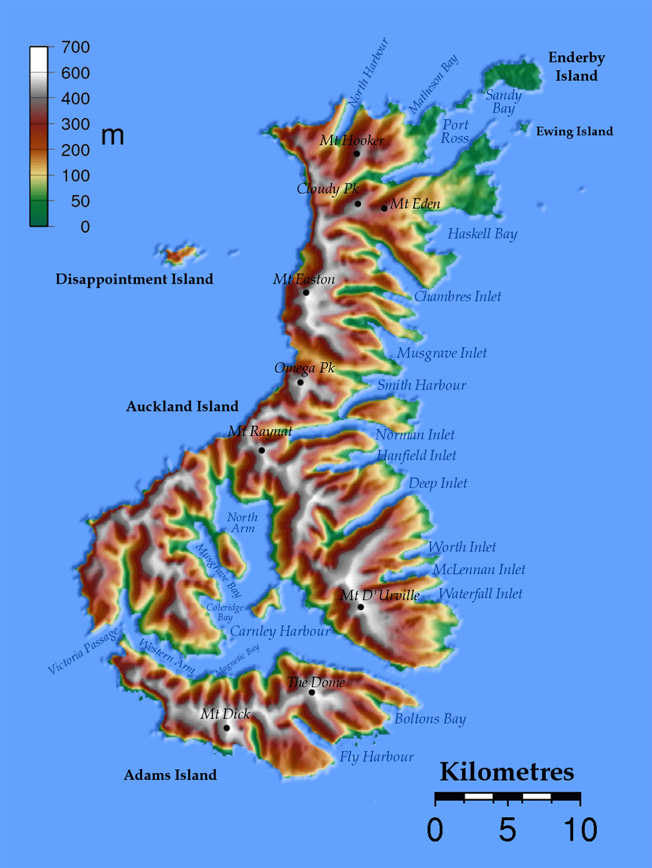 Auckland Islands Topo | New Zealand Maps