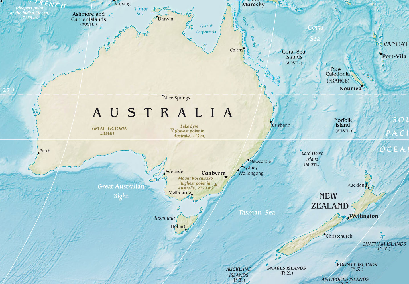 Australia And New Zealand large map