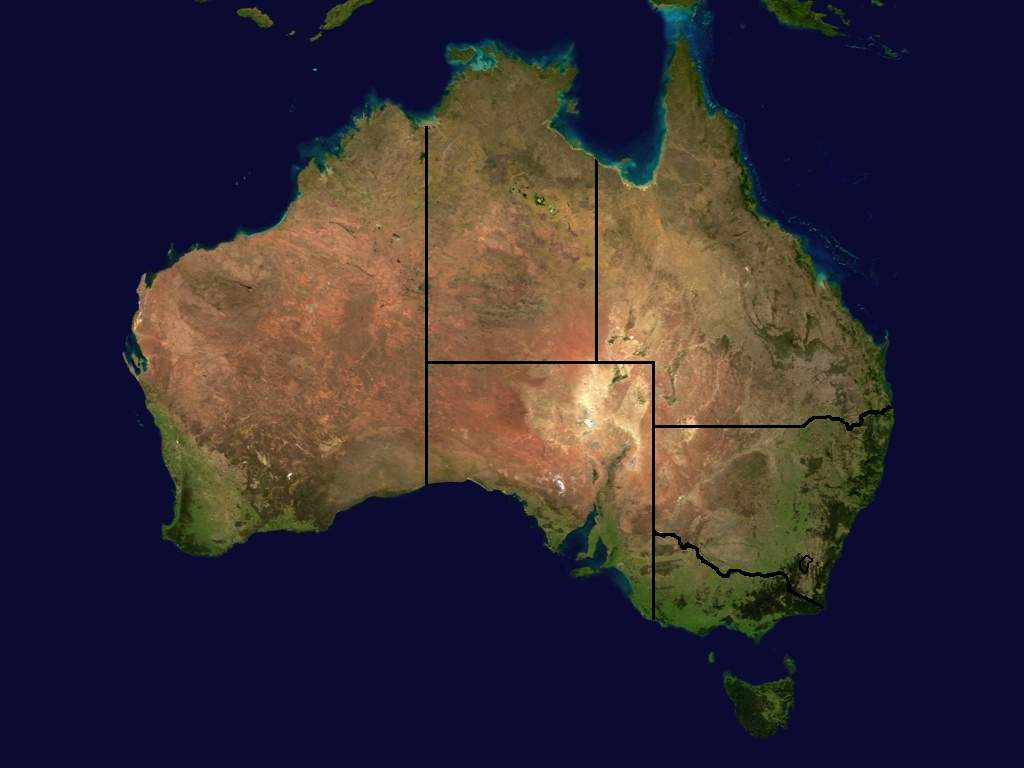 Australia Satellite States Mapsofnet – Map of the States of Australia