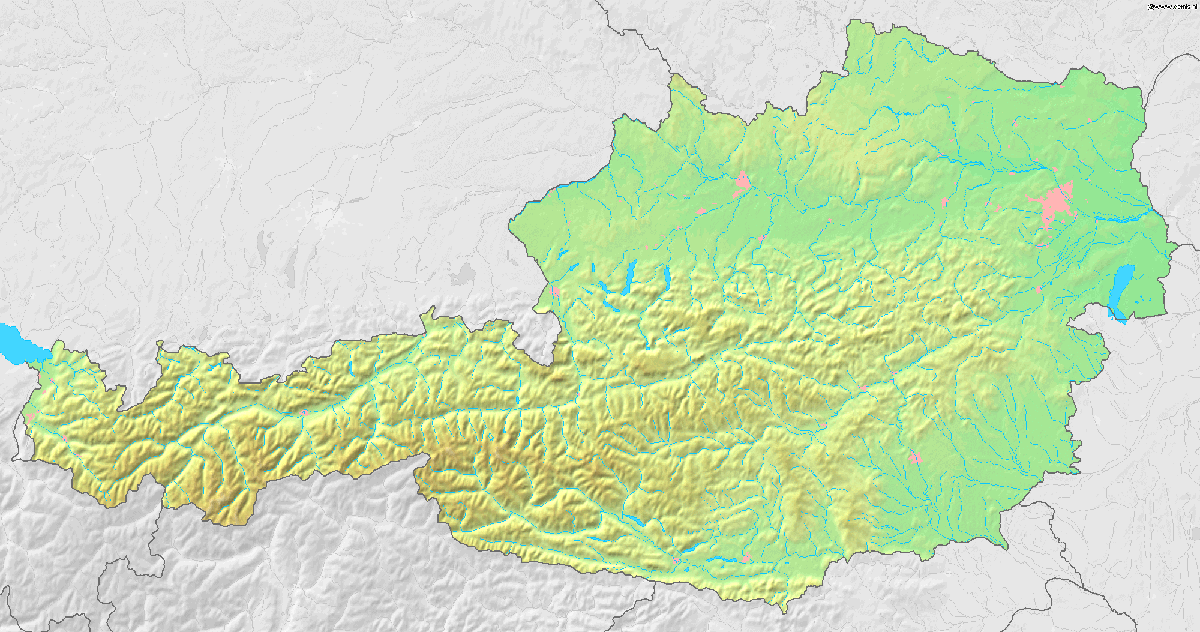 Austria Topographic Map large map