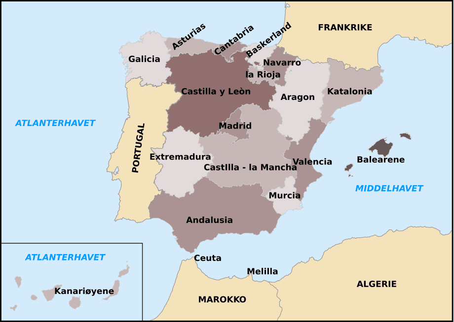 Autonomous Communities of Spain With Other Countries No  Mapsofnet