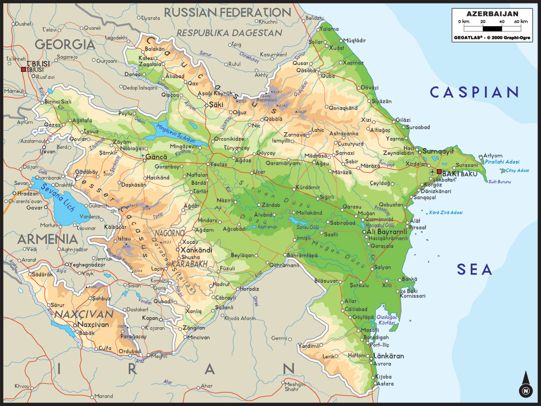 Azerbaijan Physical Large Map large map