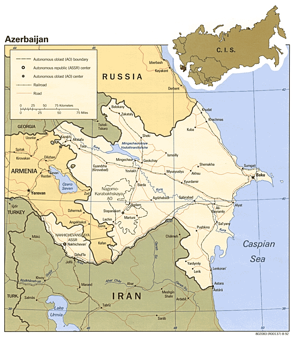 Azerbaijan Political 1992 large map