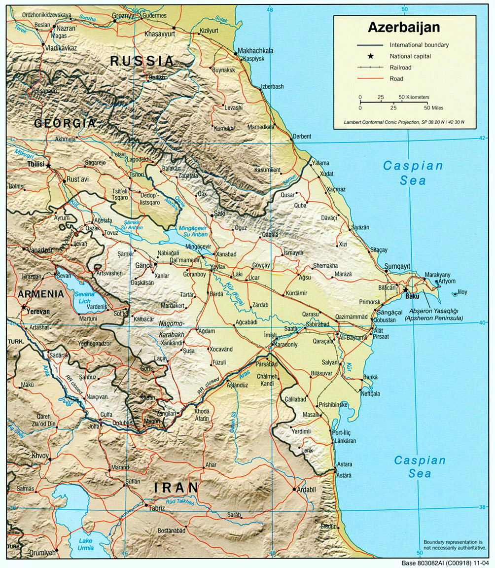 Azerbaijan Relief 2004 large map