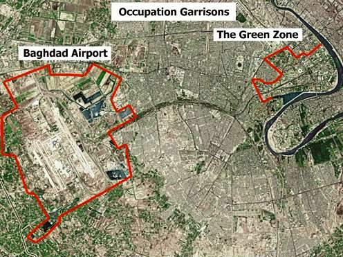 Baghdad   Airport And Green Zone large map